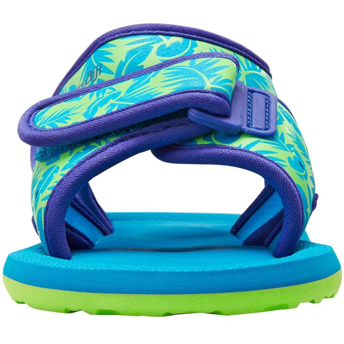 Watersandalen voor peuters zwemsport groen met bladprint