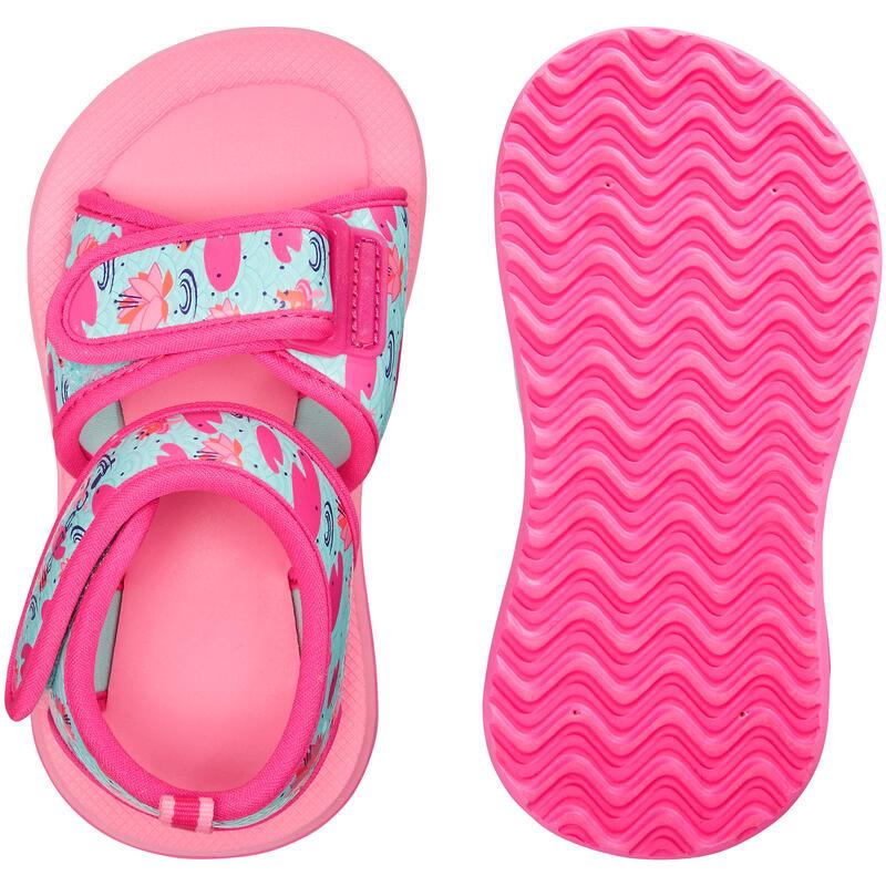 Sandales natation bébé rose imprimé flamingo