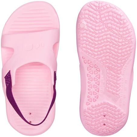 Sandales natation bébé rose élastique violet