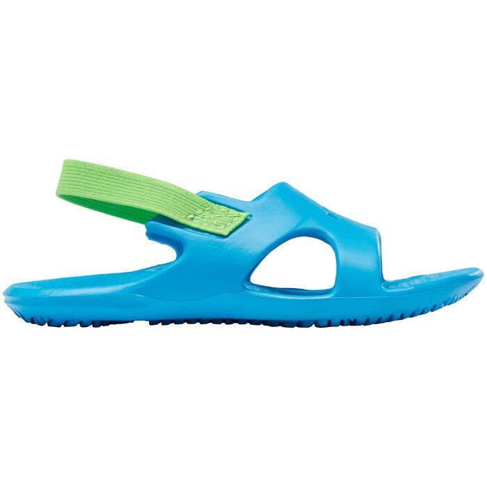 Sandales natation bébé bleu élastique vert
