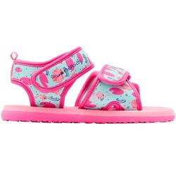 嬰幼兒泳池涼鞋-紅鶴印花粉紅色