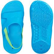 Modri natikači za bazen z zeleno elastiko za malčke