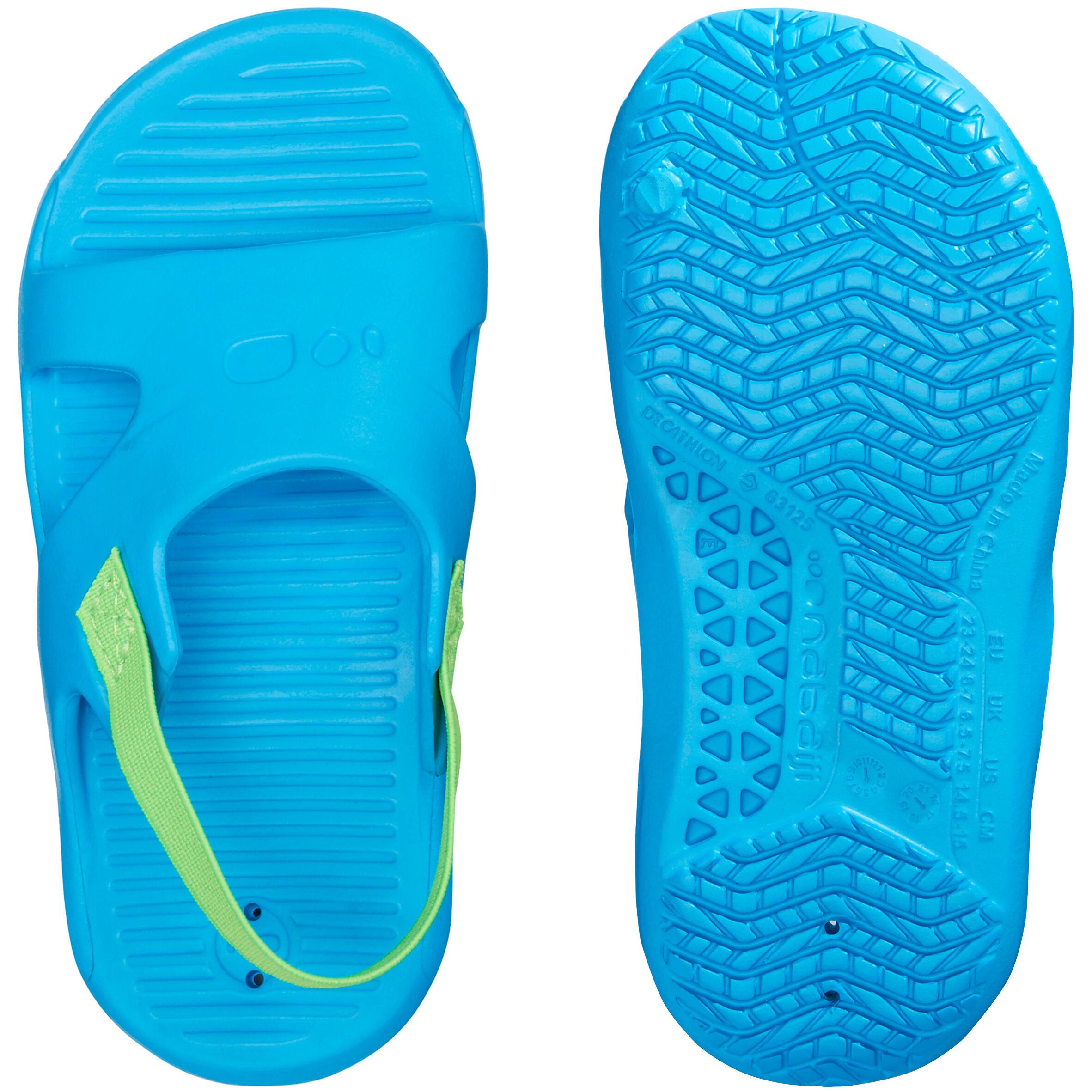 Nabaiji Badslippers kinderen Nataslap blauw met groen elastiek