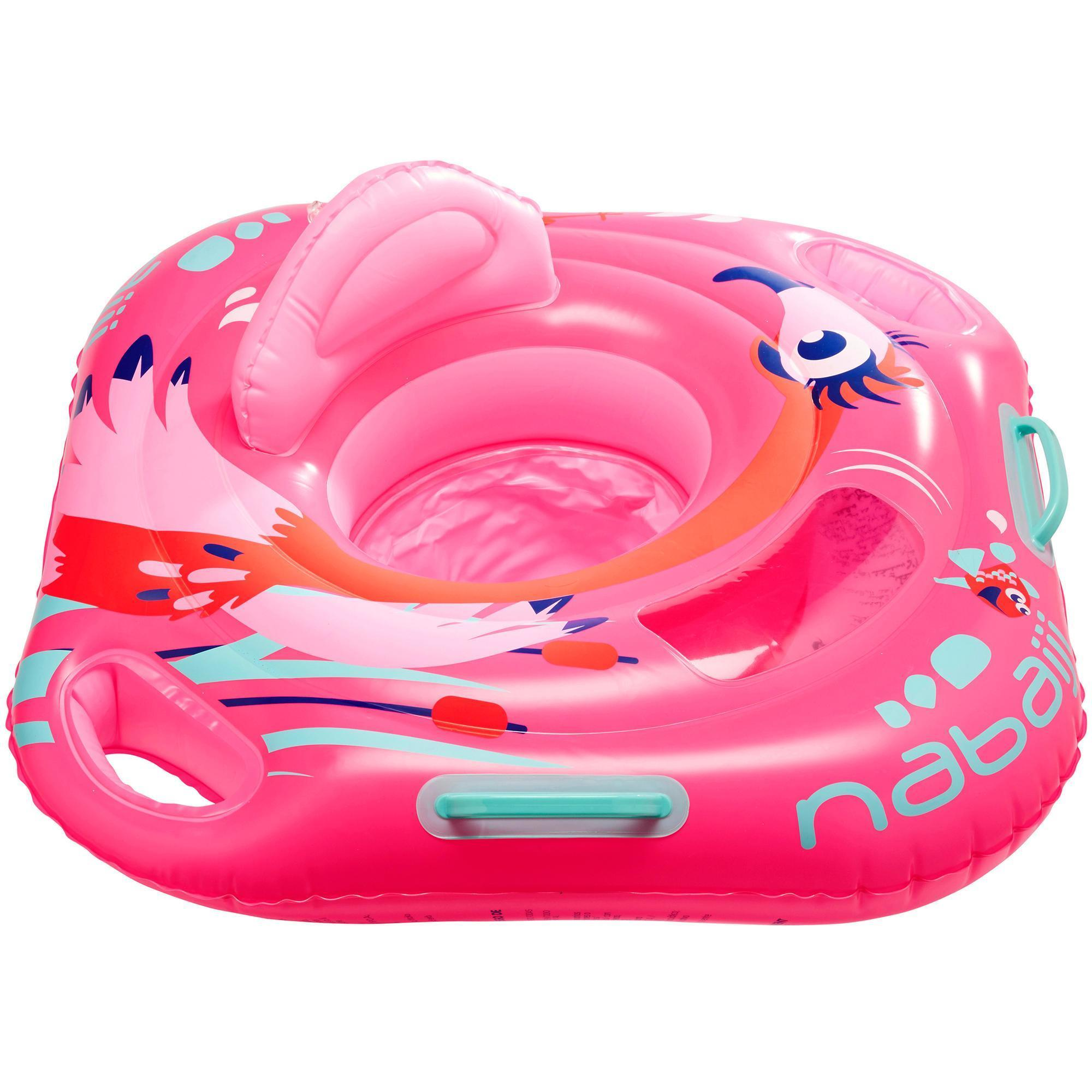 Baby Seat Swim Ring with Window and Handles - Flamingo | Nabaiji