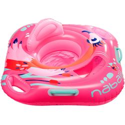 "Flotador con asiento para bebé ""FLAMENCO ROSA"" con ventana y asas"