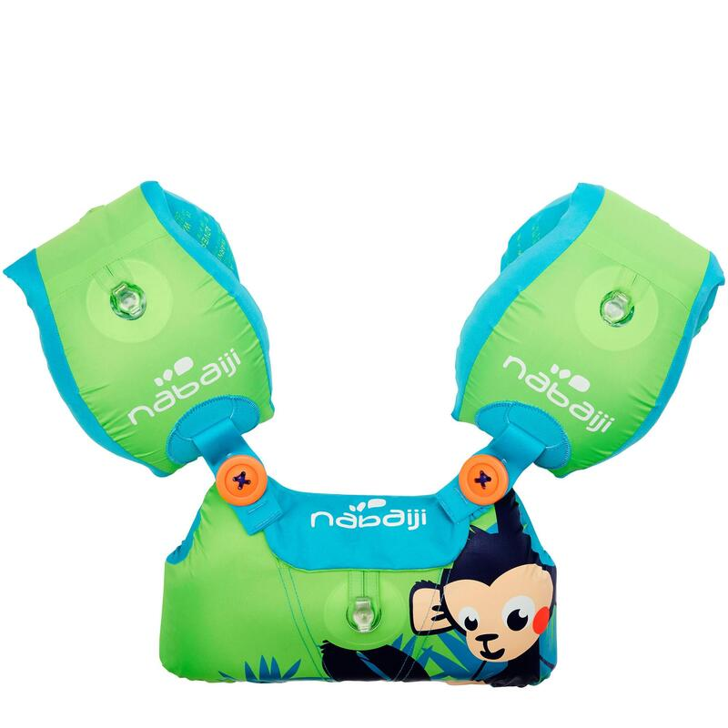 "Green child's TISWIM adaptable armband-waistbands printed ""MONKEY"""