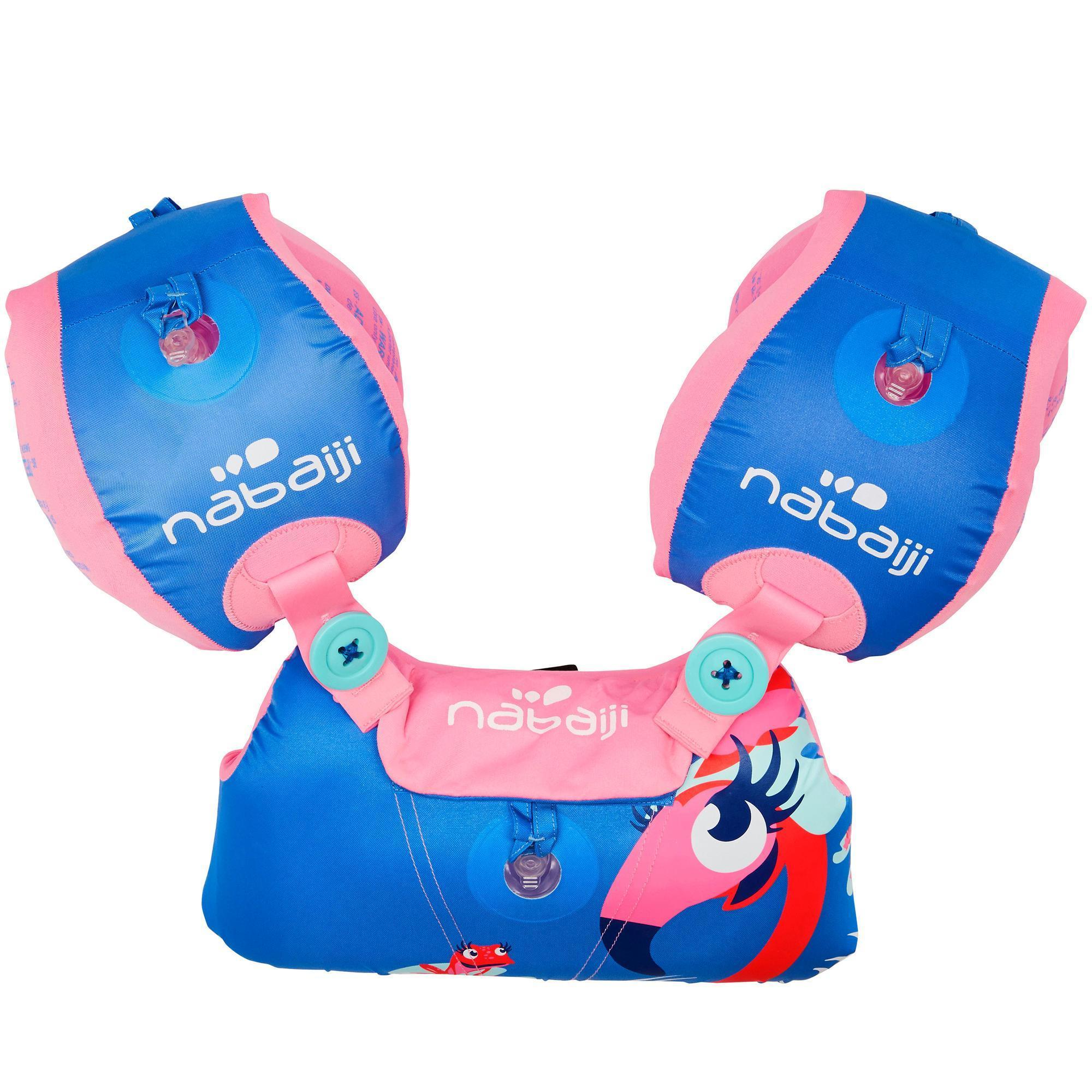 Brassards ceinture volutif tiswim enfant rose imprim for Protege oreille piscine decathlon