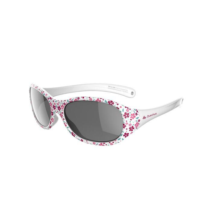 Zonnebril trekking voor kinderen 2-4 jaar MH K 520 roze bloemen categorie 4