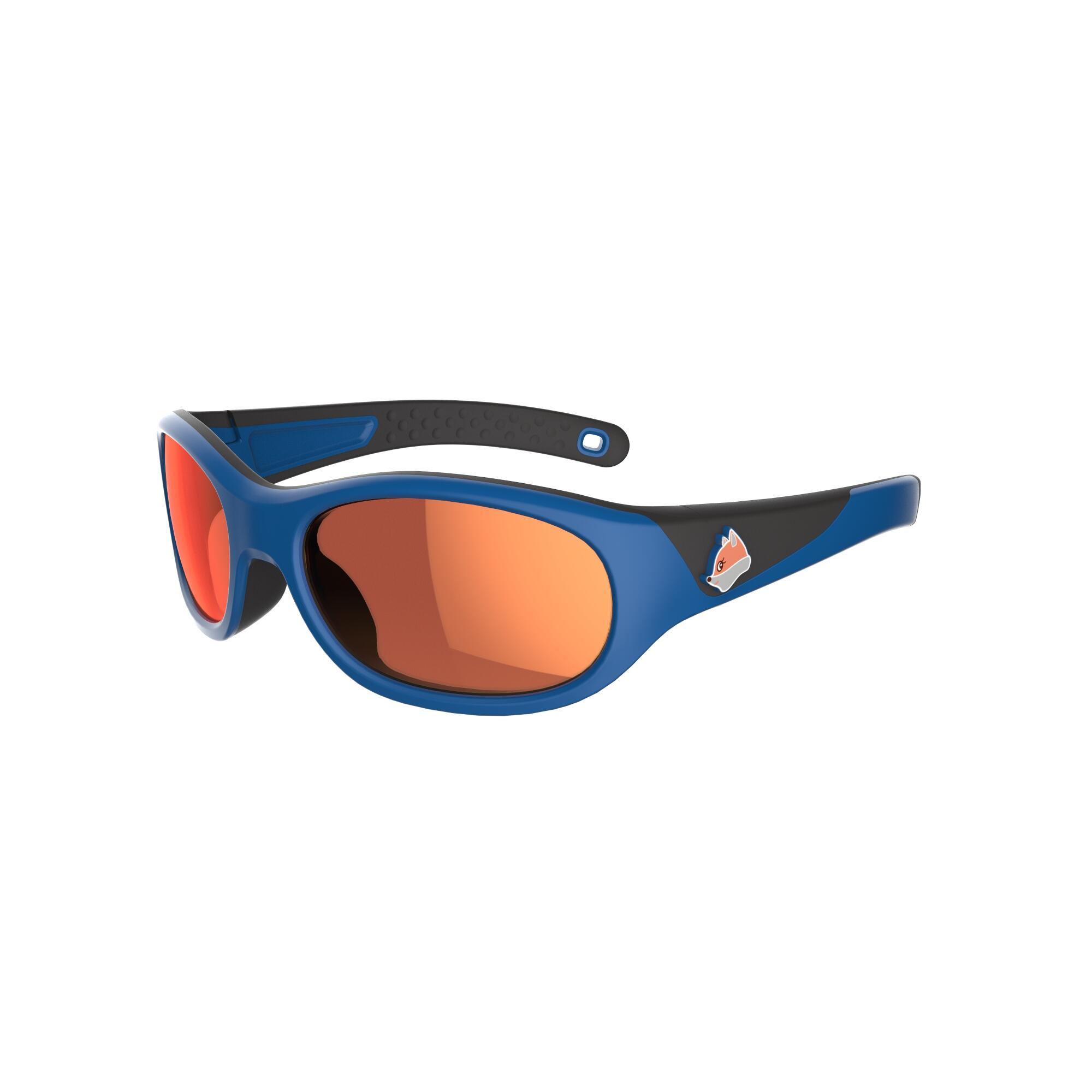 Quechua Zonnebril trekking voor kinderen 4-6 jaar MH K 900 blauw - oranje categorie 4