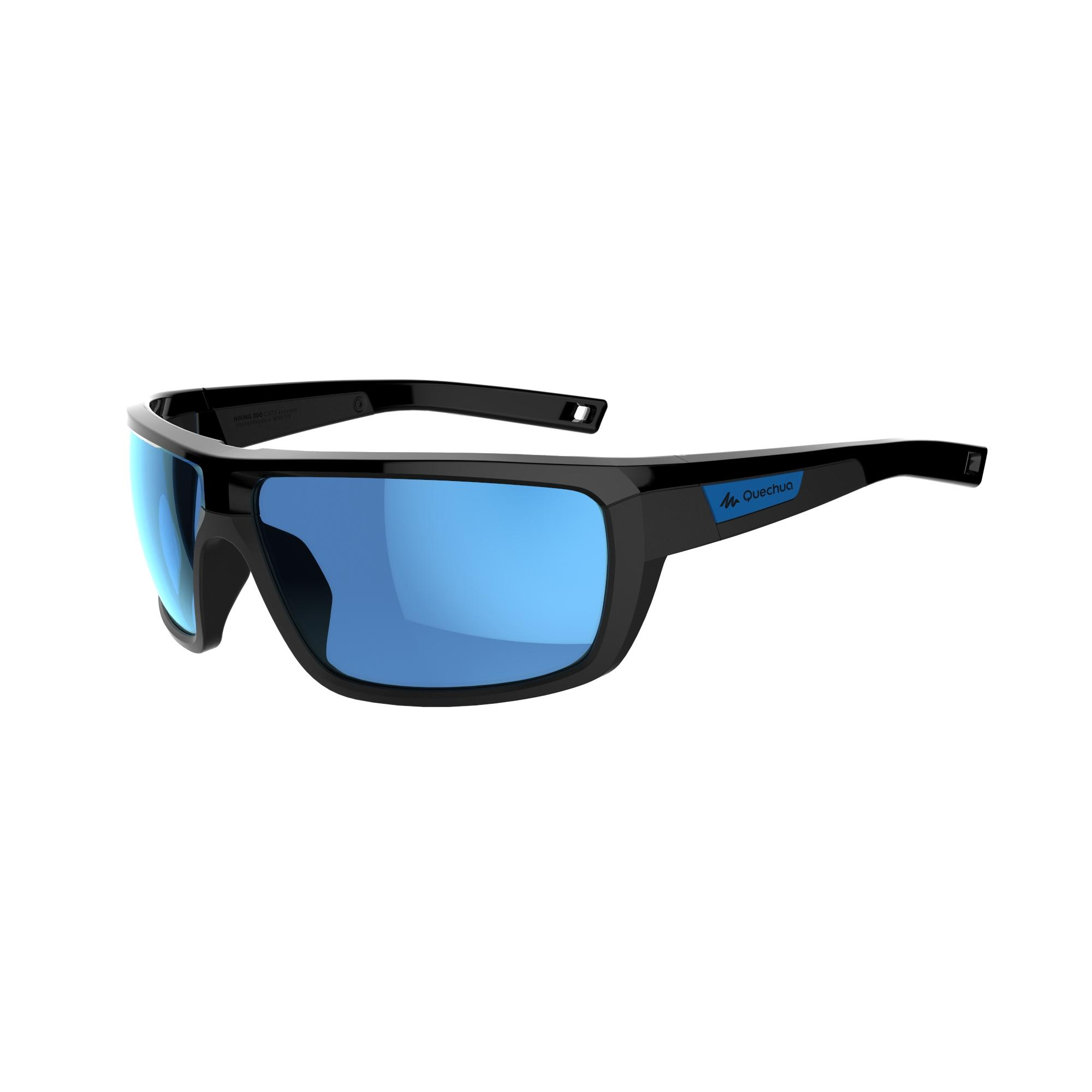 Lentes de sol de senderismo adulto HIKING 300 negro y azul. Categoría 3
