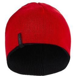 兒童滑雪雙面帽 - 黑色紅色