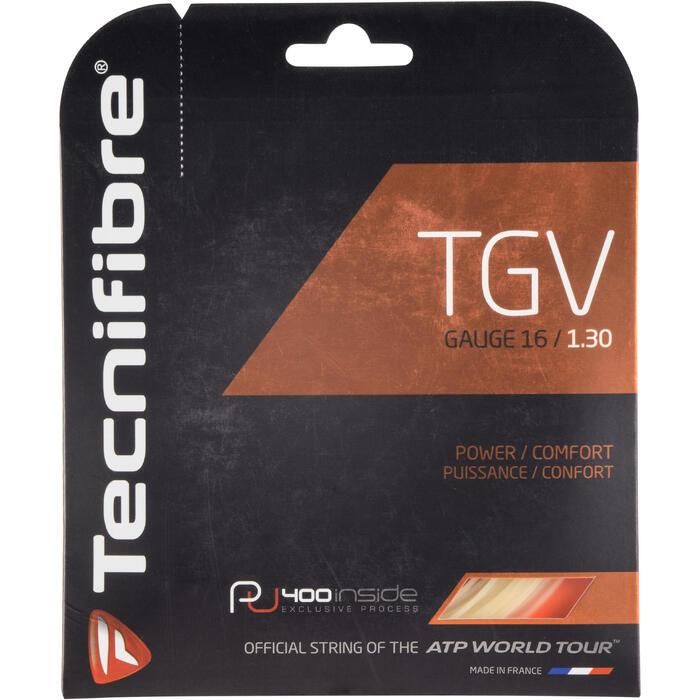 CORDAGE DE TENNIS MULTIFILAMENTS TECNIFIBRE TGV 1.30mm NATUREL - 1250076