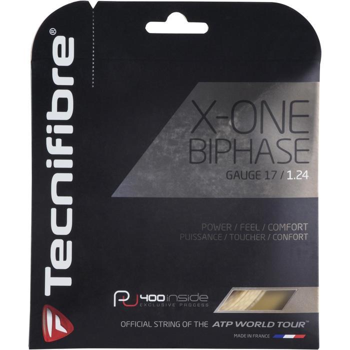 CORDAGE DE TENNIS MULTIFILAMENTS X ONE BIPHASE 1.24mm NATUREL - 1250194