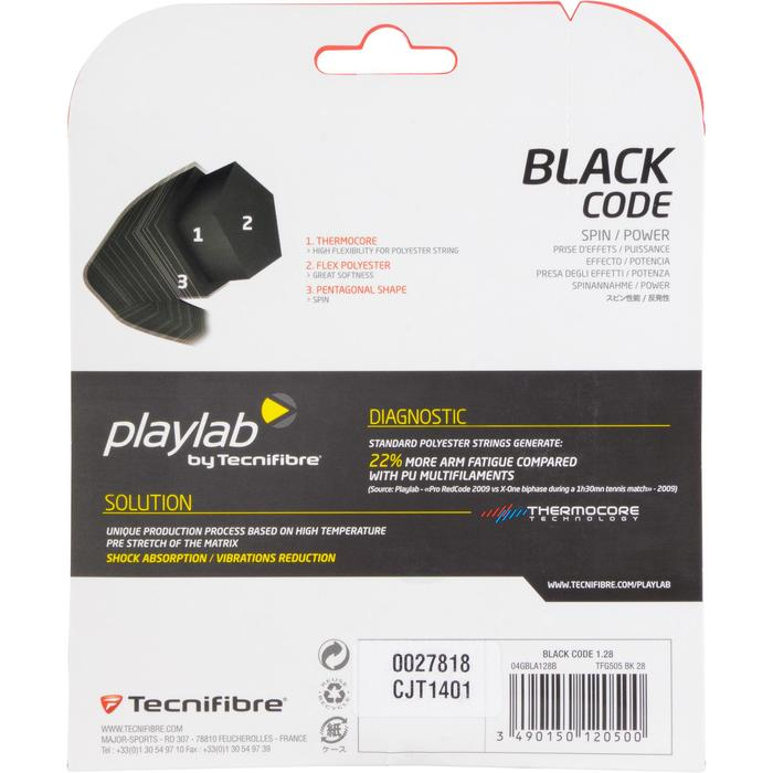 Tennisbesnaring Black Code 1,28 mm monofilament zwart