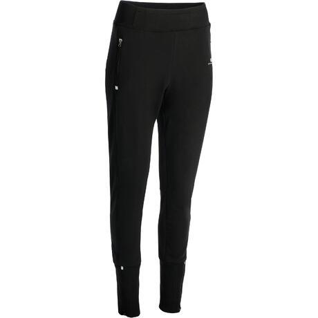 Pantalon 500 slim bas zippé Gym Stretching femme noir  64d2a532402