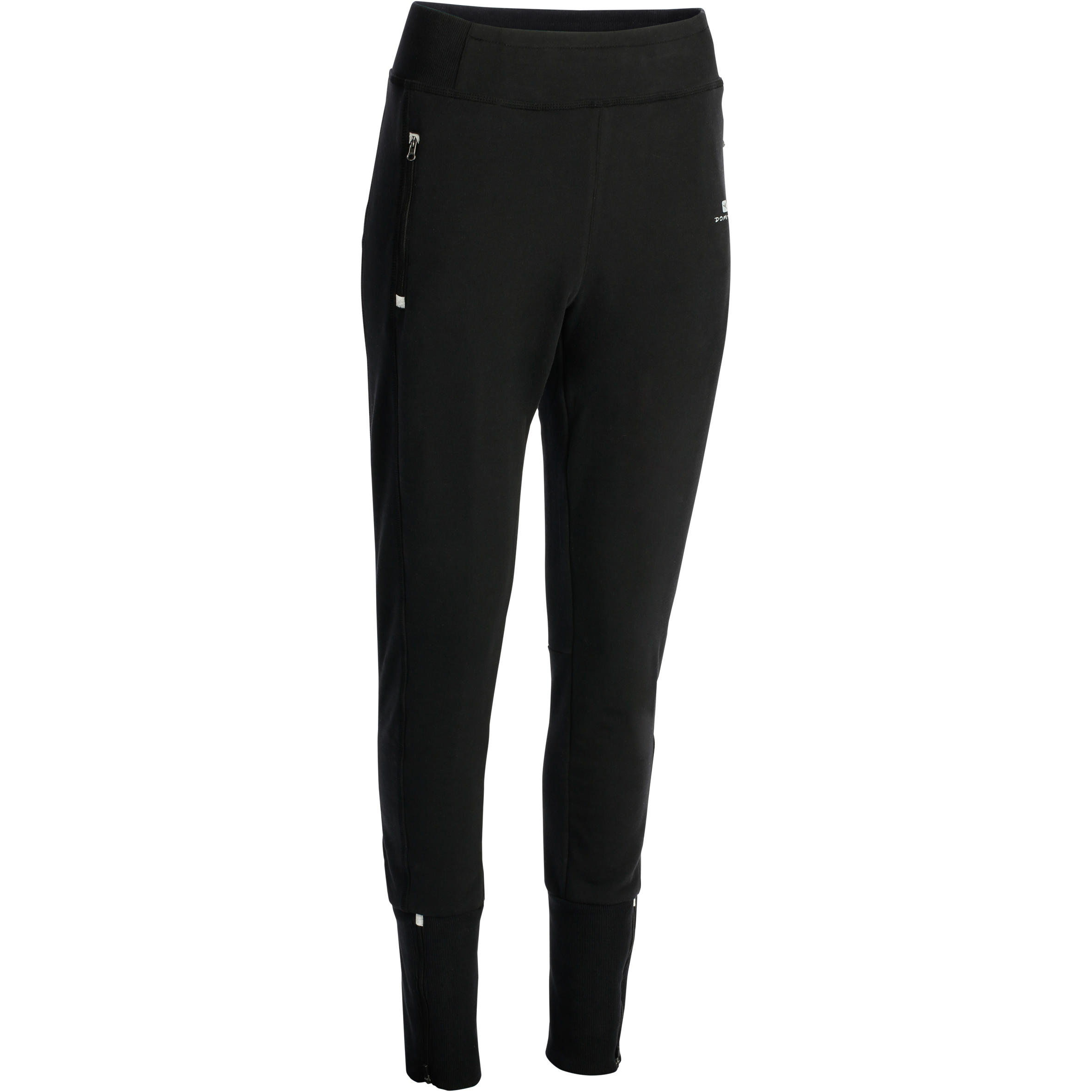 Pantalon 500 mince bas à glissière gymnastique d'étirements femme noir