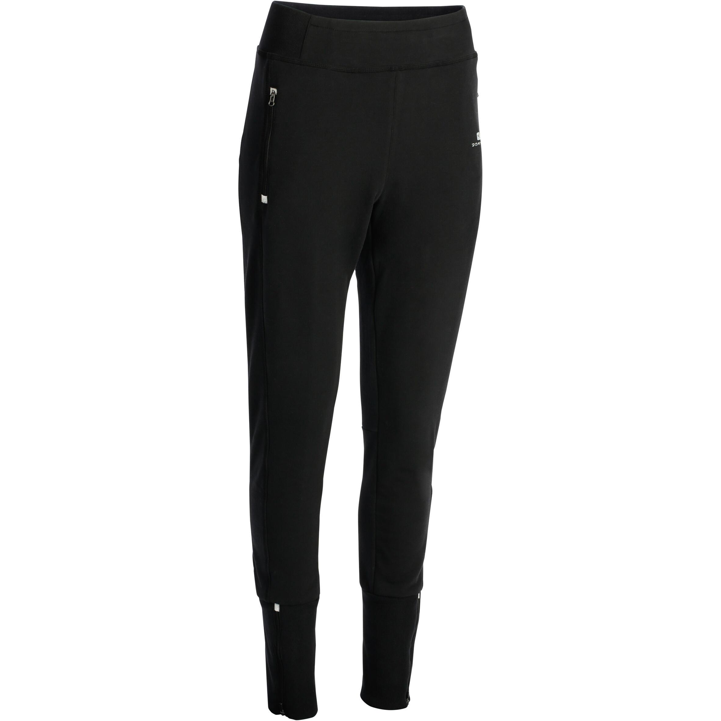 Pantalón de felpa bastillas con cierre dama fitness negro