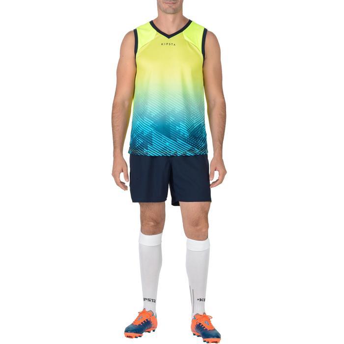 Rugbyshort voor heren R500 blauw geel