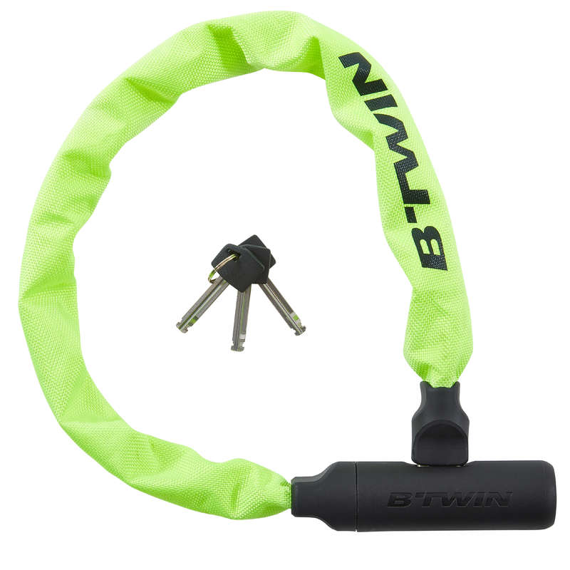 BIKE LOCKS Cycling - 500 Bike Chain Lock - Yellow B'TWIN - Bike Accessories
