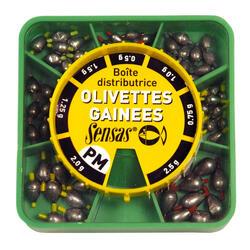 Verdeeldoos olijfloodjes met buisjes binnenin voor statisch vissen PM