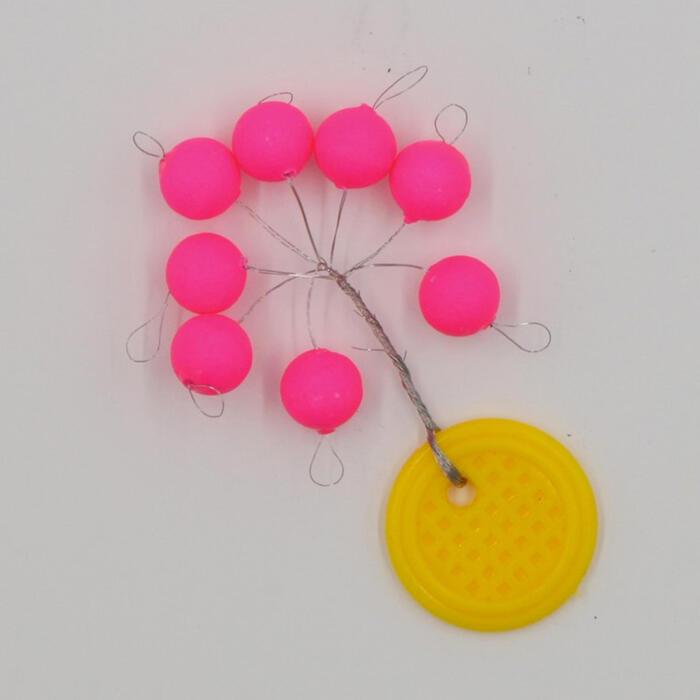 Set drijvende kralen voor zeehengelen rond roze