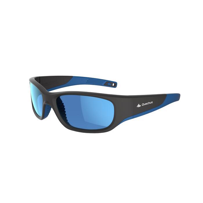 Lunettes de soleil randonnée enfant 9-11 ans MH T550 noires/bleues catégorie 4