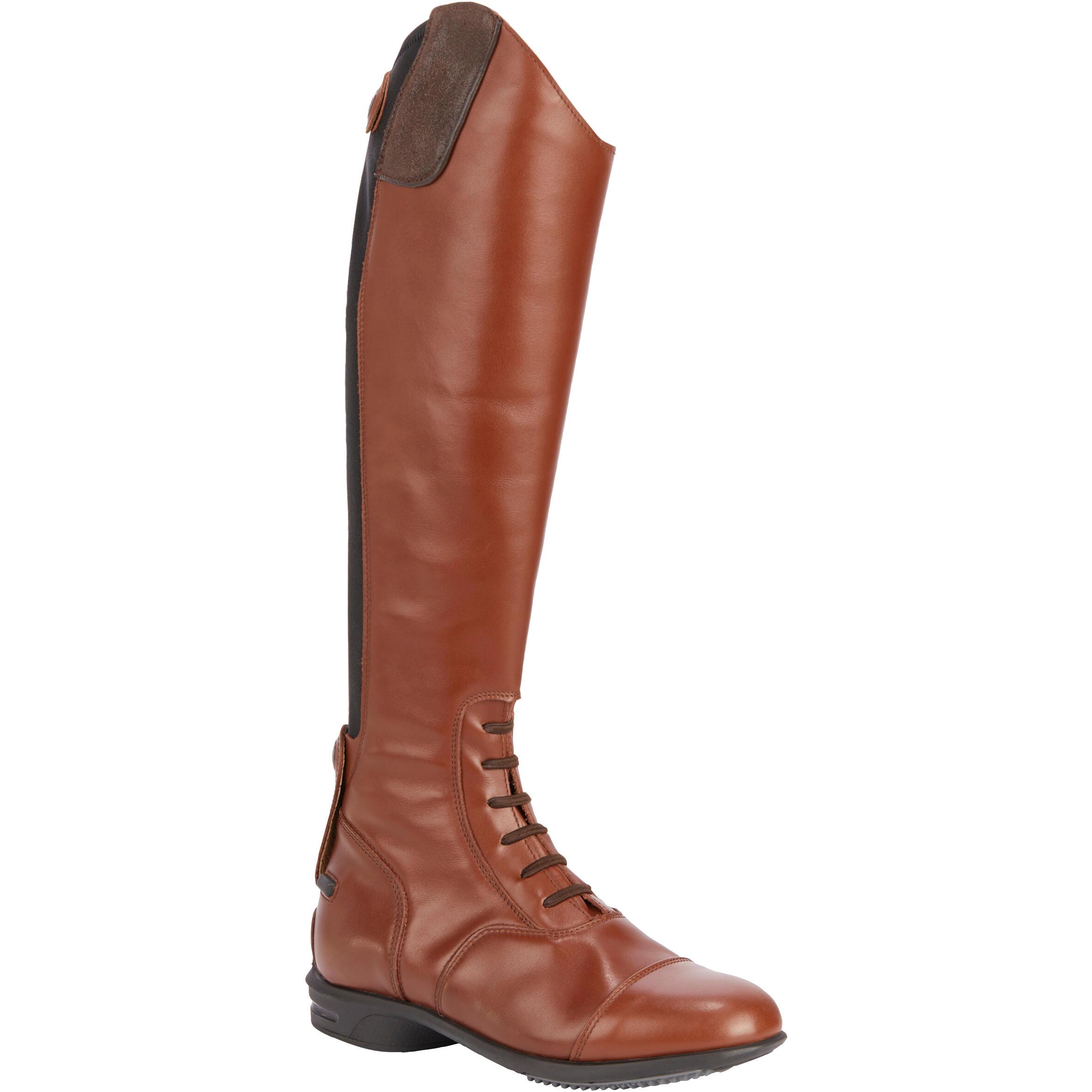 Reitstiefel LB 900 Leder Erwachsene braun | Schuhe > Sportschuhe > Reitstiefel | Braun | Leder | Fouganza