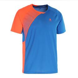 Badminton shirt 830 voor heren blauw oranje