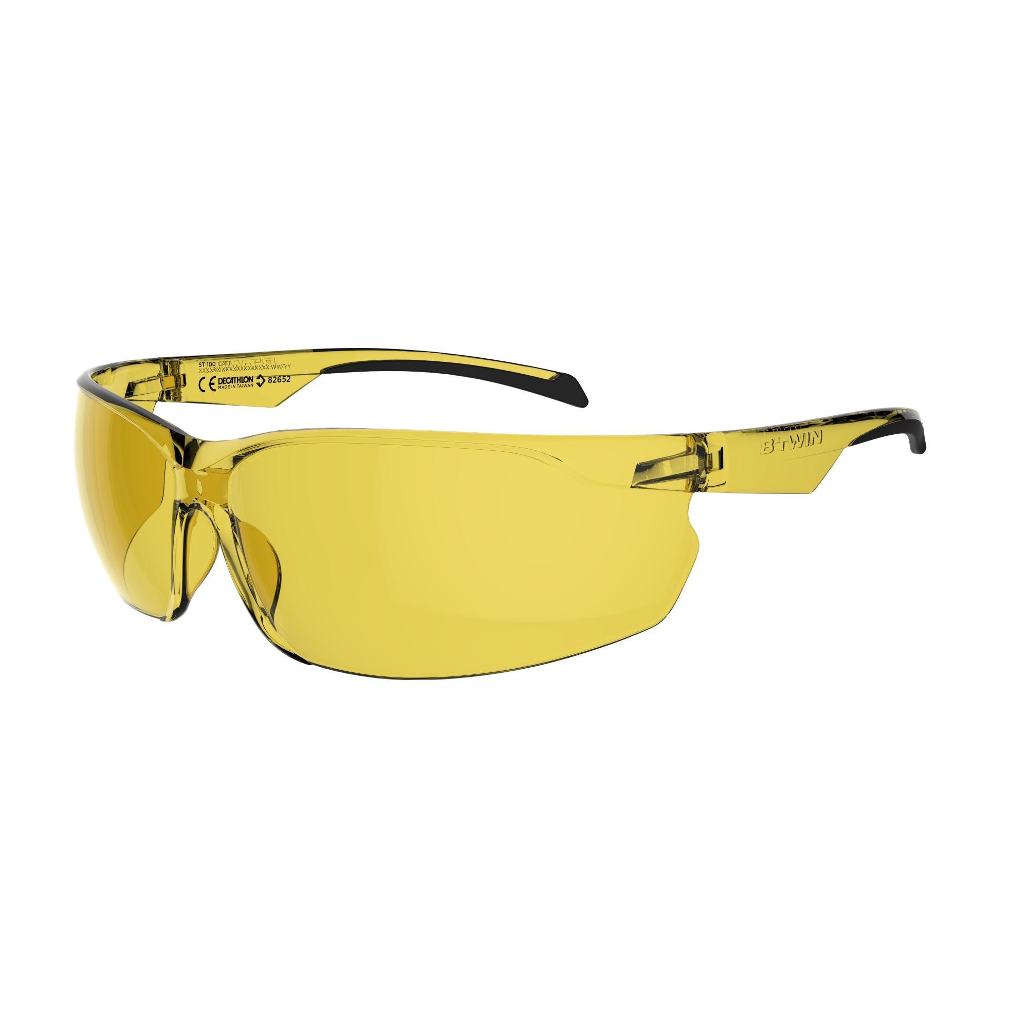 B'twin Fietsbril voor volwassenen Cycling 100 geel categorie 1 thumbnail