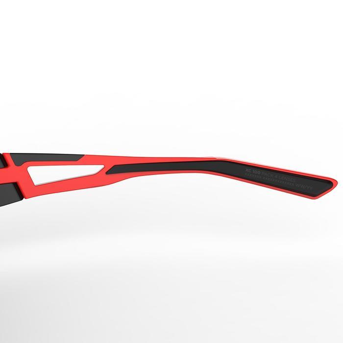 Lunettes de VTT adulte XC 100 noires et rouges pack de 4 verres interchangeables - 1251852