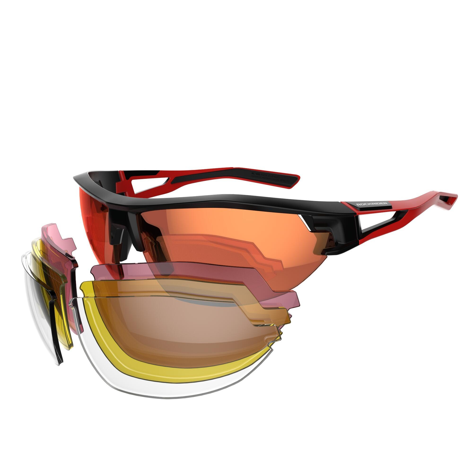 B'twin Fietsbril voor volwassenen XC 100 zwart en rood pack 4 verwisselbare glazen