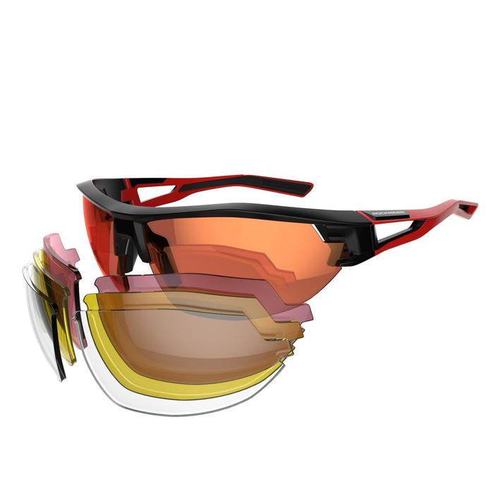 Fietsbril voor volwassenen XC 100 zwart en rood pack 4 verwisselbare glazen - 1251856