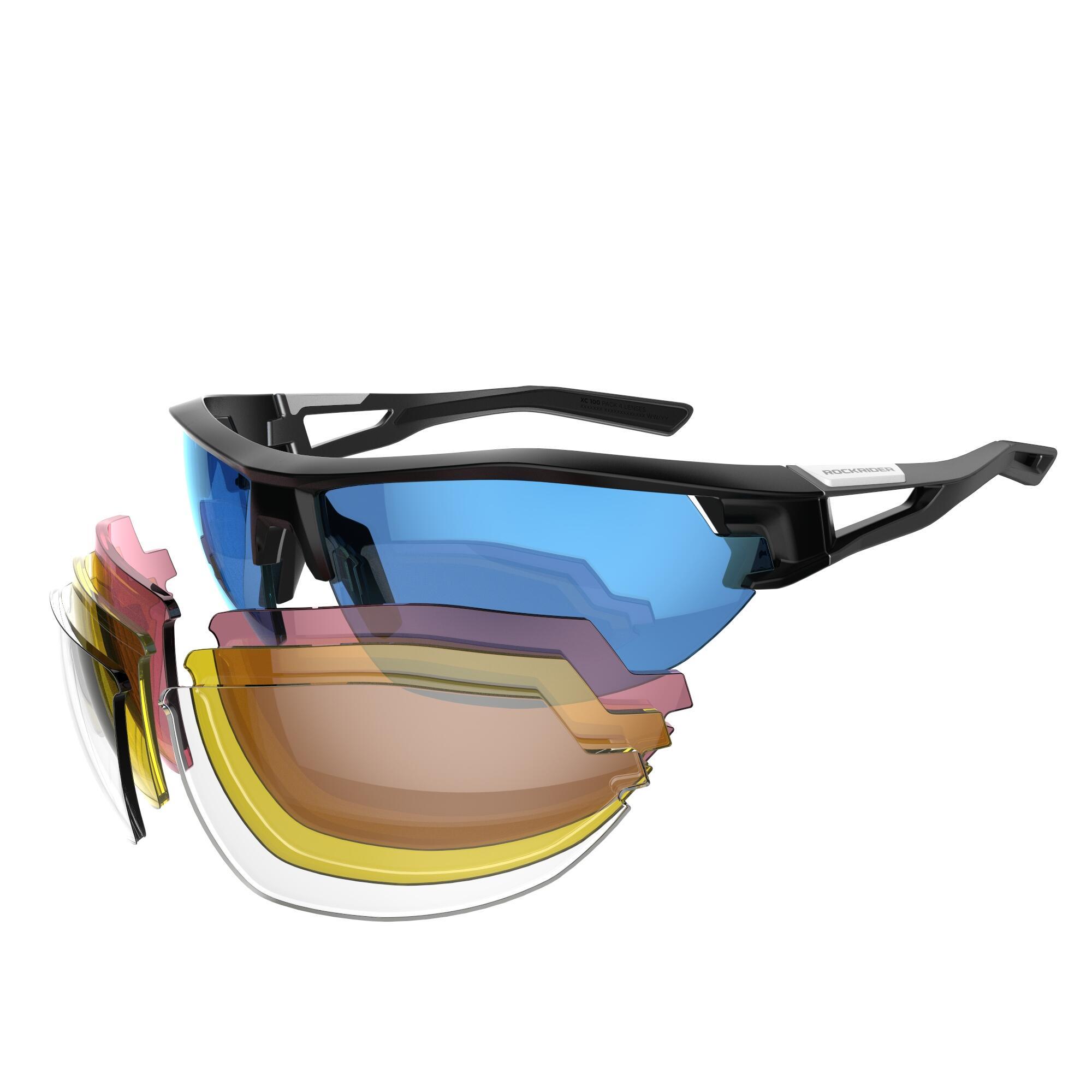 MTB-Sonnenbrille XC 100 4 austauschbare Gläser grau/blau | Accessoires > Sonnenbrillen > Sonstige Sonnenbrillen | Blau | Polyamid | Rockrider