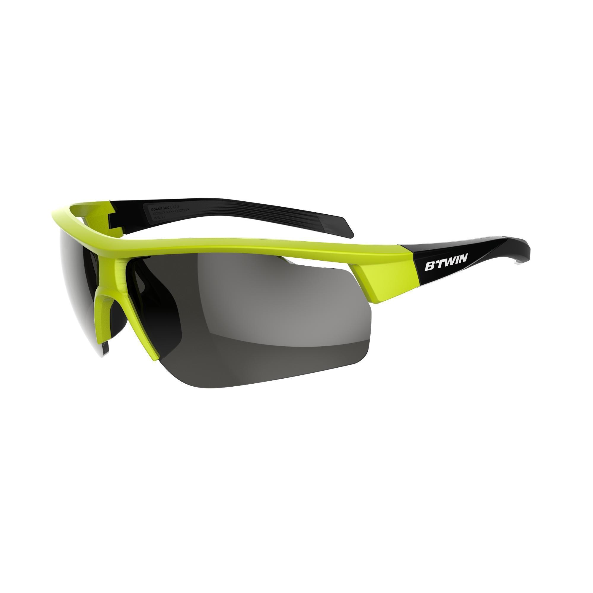 Orao Fietsbril volwassenen Roadr 500 categorie 3 geel-groen fluo