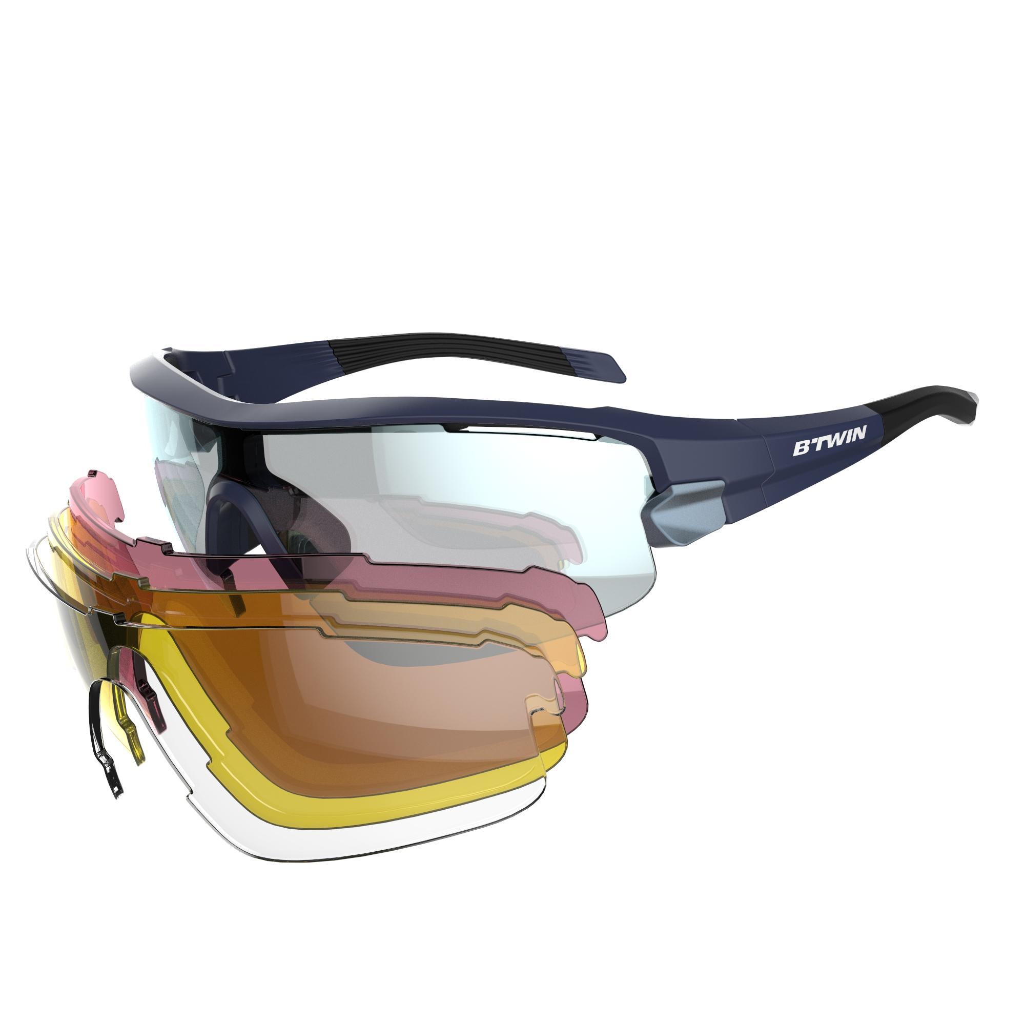 B'twin Fietsbril volwassenen Roadr 900 Navy Pack zwart - 4 verwisselbare glazen