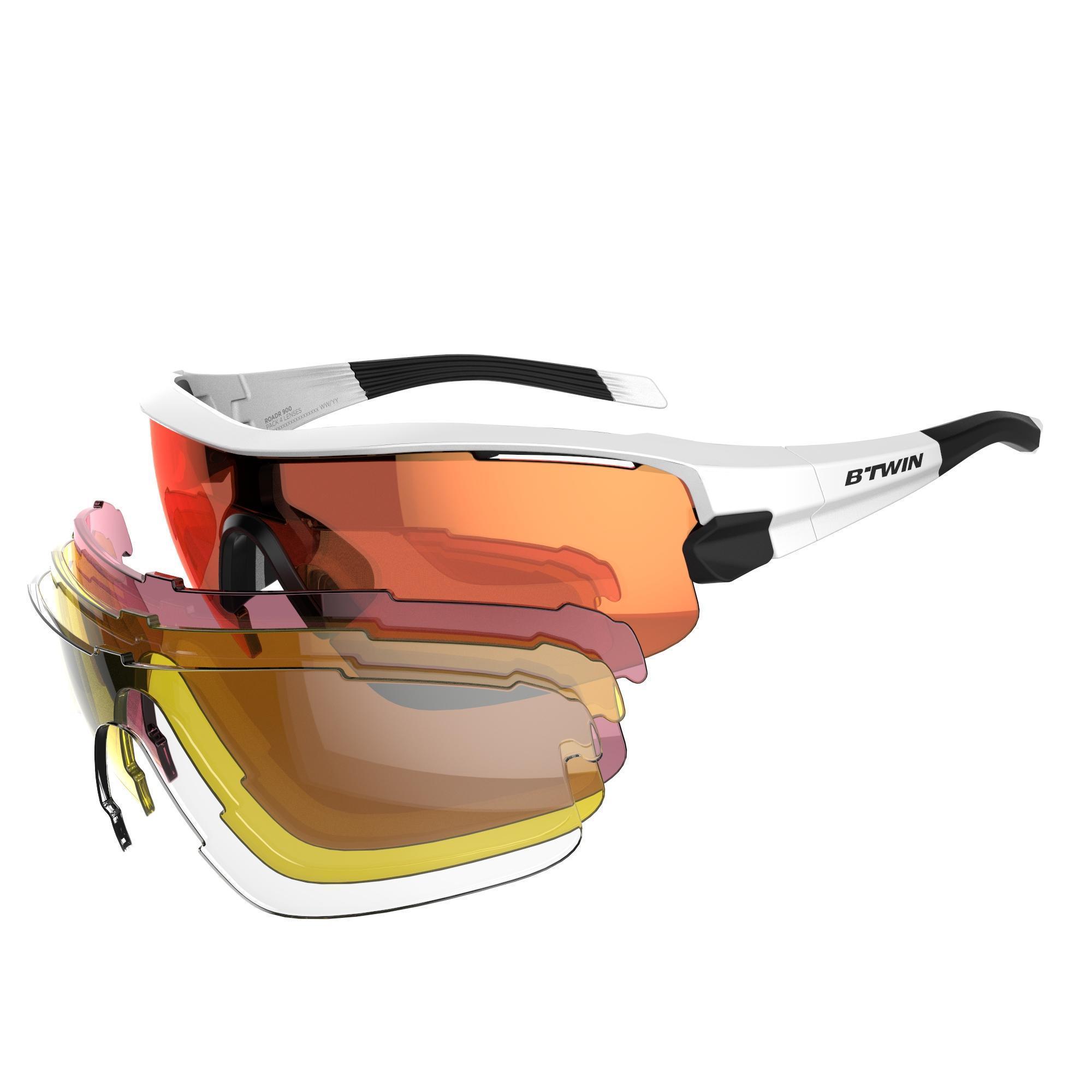 cdad4a4281 Gafas de ciclismo adulto ROADR 900 GREY PACK gris - 4 cristales  intercambiables B'twin | Decathlon