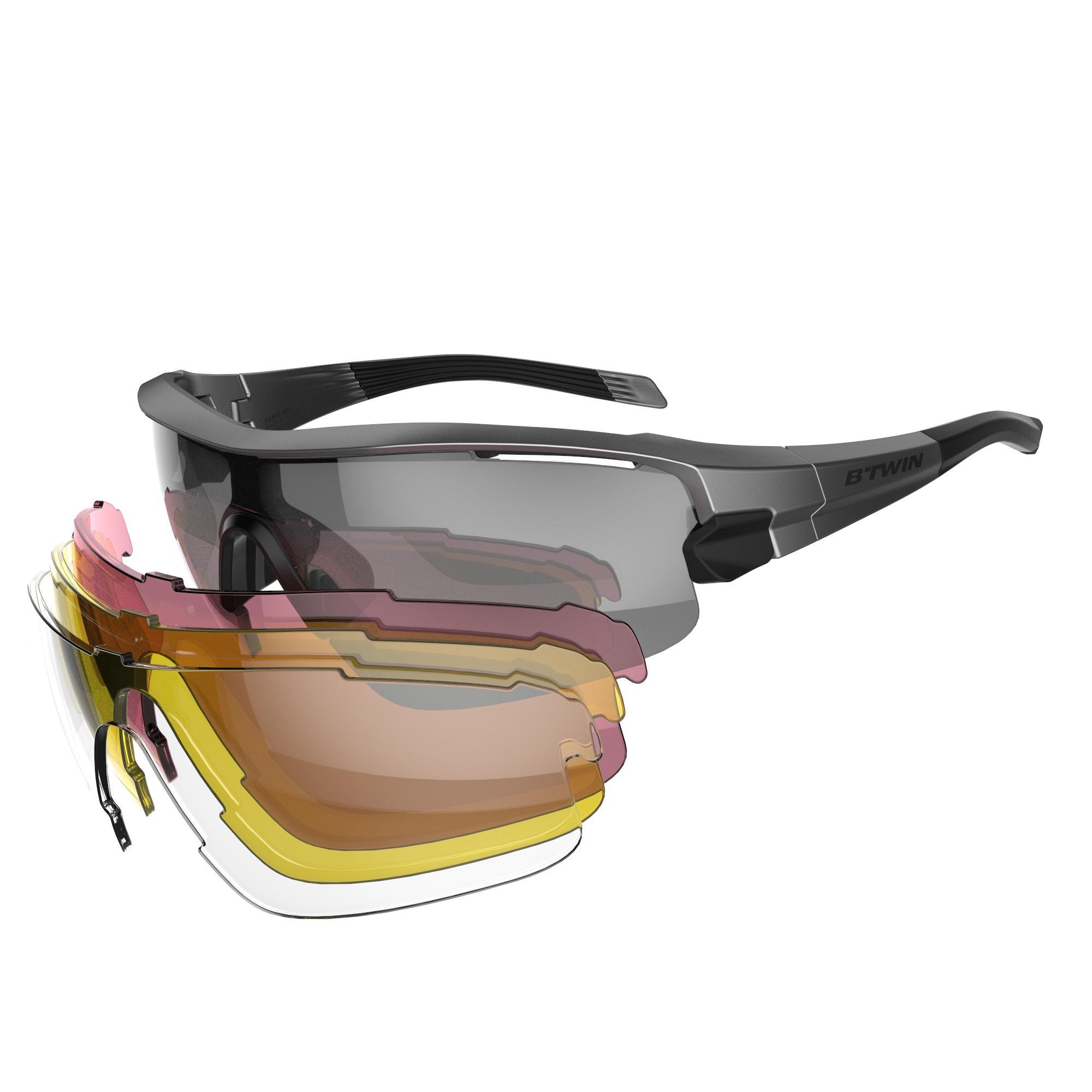 B'twin Fietsbril volwassenen Cycling 900 Grey Pack grijs - 4 verwisselbare glazen