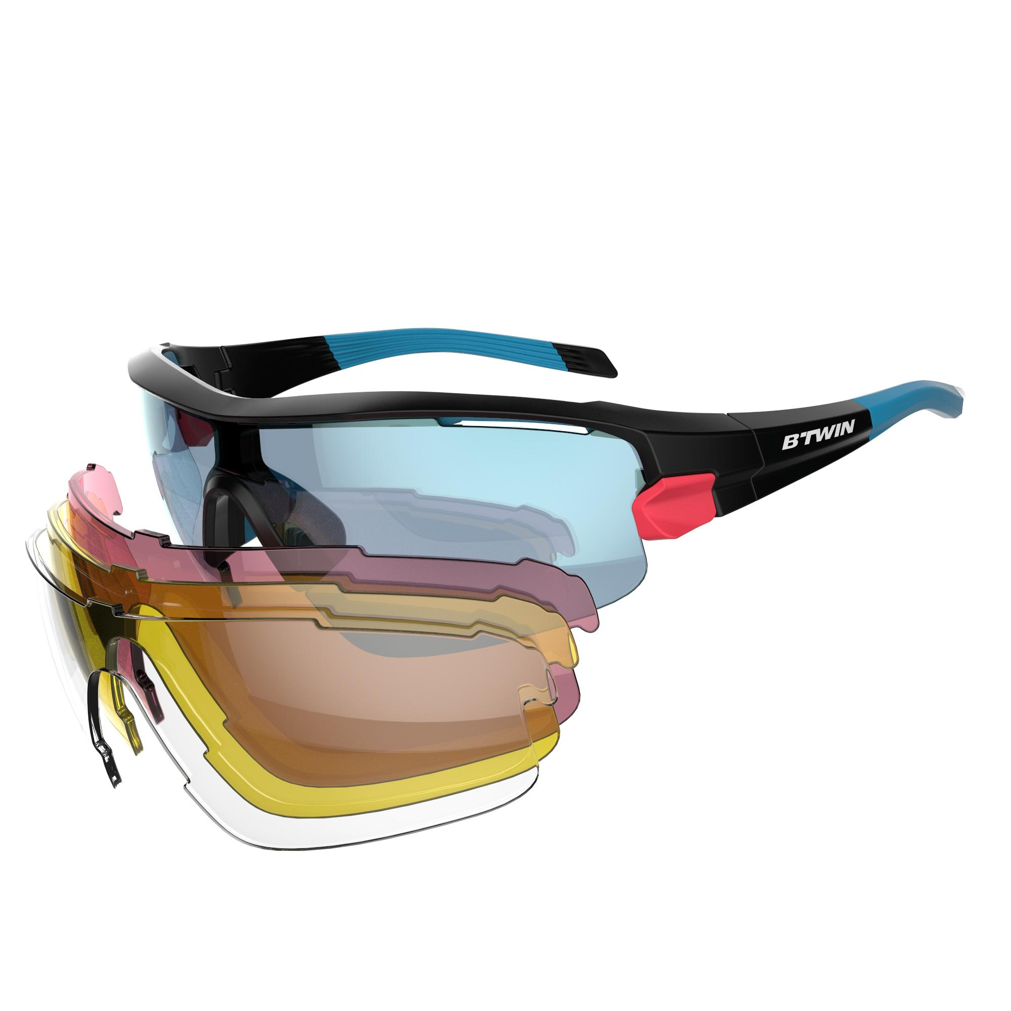 B'twin Fietsbril volwassenen Cycling 900 Grey Pack grijs - 4 verwisselbare glazen thumbnail