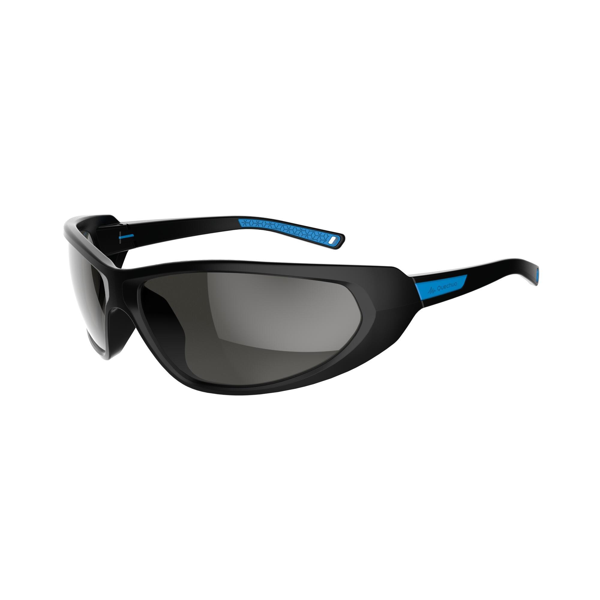 Lunettes de soleil de randonnée adulte MH 510 noires et bleues catégorie 4
