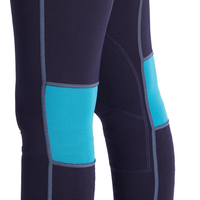 Pantalón de equitación para niños BR500 MESH azul marino y turquesa