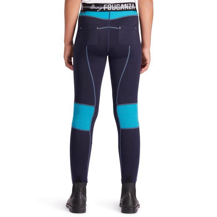 Pantalon équitation enfant BR500 MESH marine et turquoise