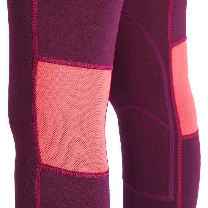 Pantalon équitation fille BR500 MESH prune et rose