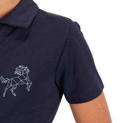 Poloshirt 500 Mesh Kinder marineblau/grau
