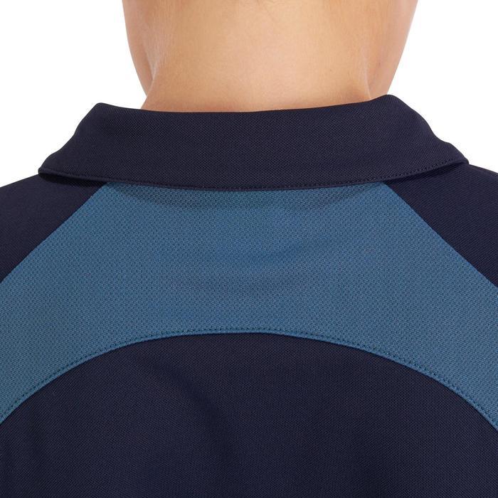 Kinderpolo met korte mouwen ruitersport PL500 mesh marineblauw en grijs