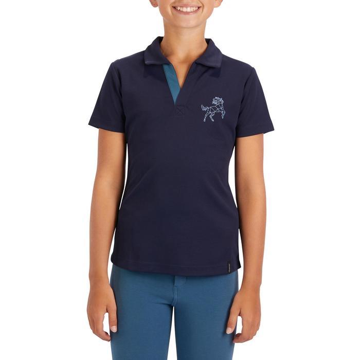 Kinderpolo met korte mouwen 500 MESH voor ruitersport marineblauw/grijs