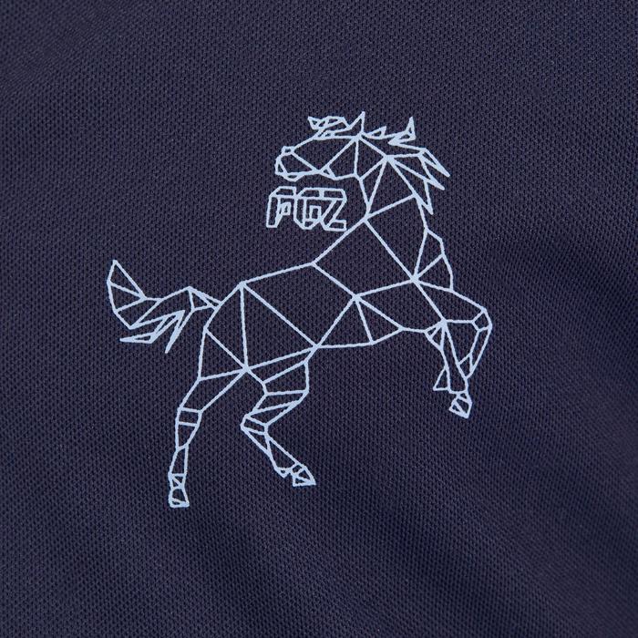 Polo manches courtes équitation enfant 500 MESH marine et gris