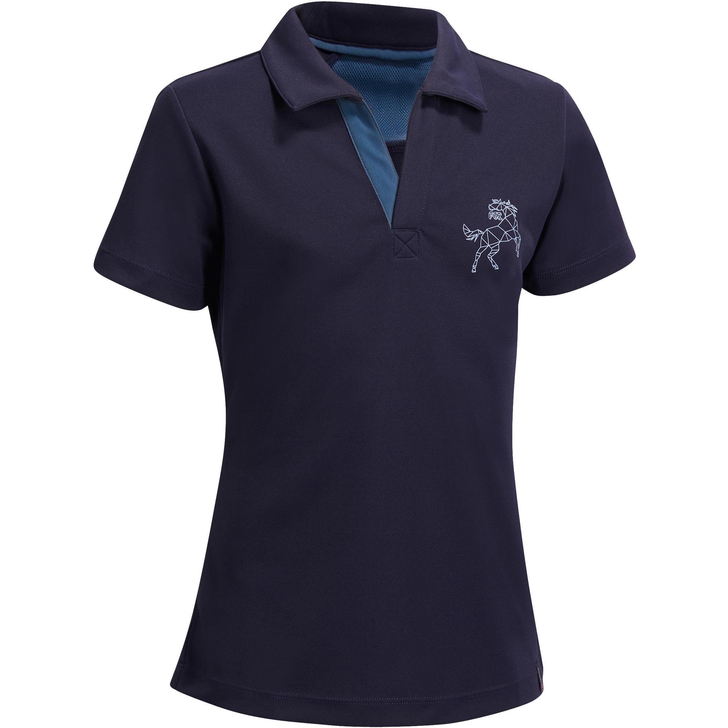 Polo de manga corta equitación niños PL500 MALLA azul marino y gris