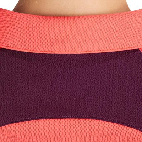 Kaus Polo Lengan Pendek Berkuda Perempuan 500 - Pink/Plum