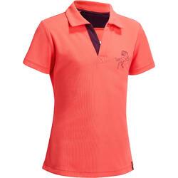 女童款馬術網眼短袖Polo衫500-粉紅色/梅紅色