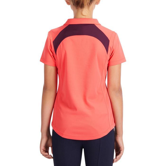 500 Girls' Horse Riding Mesh Short-Sleeved Polo Shirt - Pink/Plum